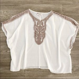 Ivory chiffon flowy throwover cover / blouse